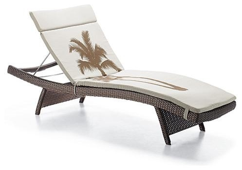 Sunbrella Patterned Balencia Chaise Cushion - Frontgate tropical-outdoor-cushions-and-pillows