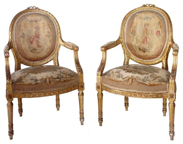 Pair of French Louis XVI Style Gilt Aubusson Armchairs  : traditional accent chairs from www.houzz.com size 640 x 504 jpeg 72kB