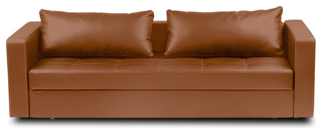 Eperny Light Brown Faux Leather Sofa Sleeper Modern Sofas
