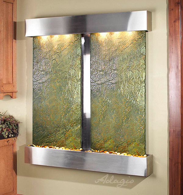 Slate Wall Mounted Water Features - The Cottonwood Falls with Green Slate contemporary-indoor-fountains