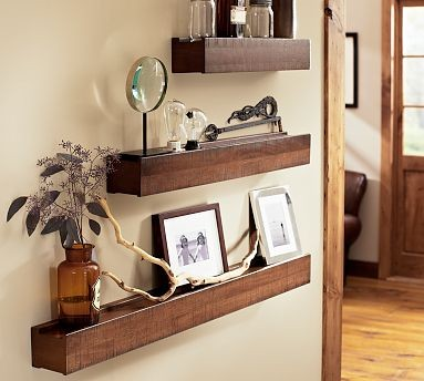 Rustic Wood Ledge | Pottery Barn  wall shelves