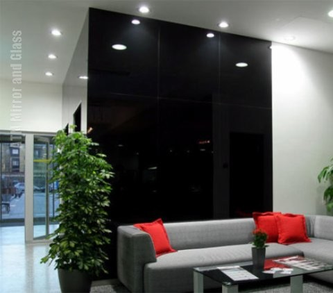 Black Back Painted Glass Wall Covering