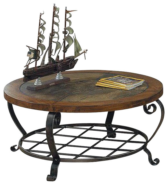 Antique White And Oak Coffee Tables: Riverside Harmony Round Coffee Table In Antique Oak Stain