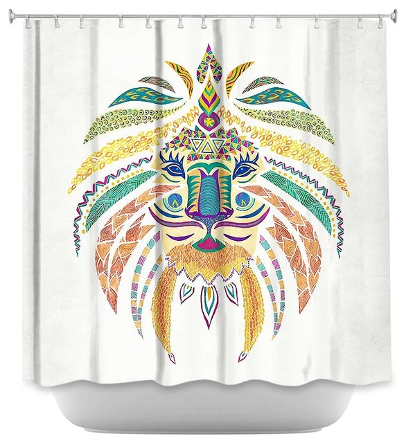 Shower Curtain Pom Graphic Whimsical Lion Contemporary Shower Curtains By Dianoche Designs