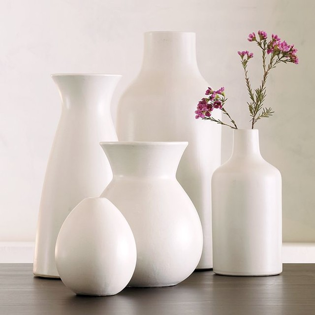 Pure White Ceramic Vase Collection contemporary-vases