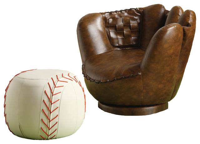 Sporty Dark Brown Baseball Glove Chair & White Ottoman