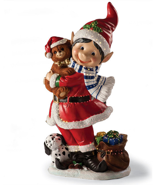 Fiber optic elf holding a teddy bear frontgate outdoor Traditional outdoor christmas decorations