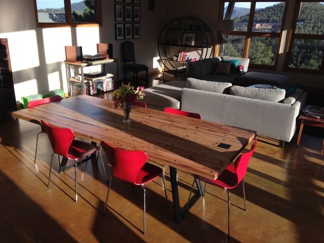 Reclaimed Trailer Flooring Dining Table Modern Dining