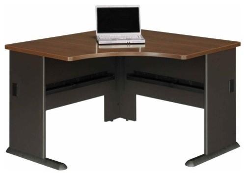 48 inch corner desk in sienna walnut and bronze contemporary desks