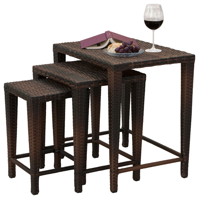 Mayall Set of 3 Nested Outdoor Tables, Multibrown contemporary-outdoor-dining-tables