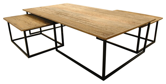 Dickens Reclaimed Wood Modern Large Coffee Table Set transitional-coffee-tables