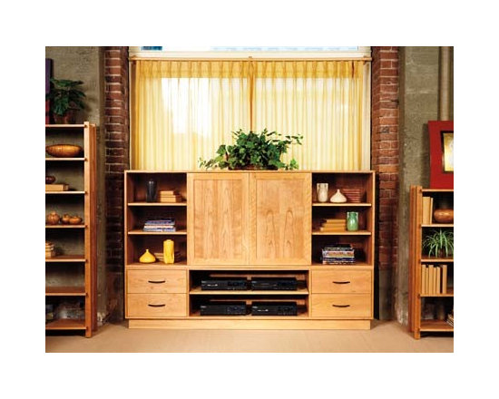 ALDERBROOK MEDIA CABINET - The Alderbrook media cabinet provides ample storage for all your media, components, and accessories. The top doors slide to the sides to reveal your television for an enhanced viewing experience.