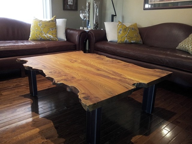 Reclaimed Elm Live Edge Slab Coffee Table Contemporary