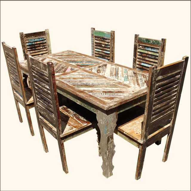 Rustic Reclaimed Wood Shutter Back Chair Dining Table  : rustic dining table sets from www.houzz.com size 640 x 640 jpeg 132kB