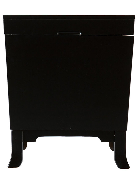 """SEI - Hayden End Table Trunk - Black - Don't fret over tidying away messes and never having enough space anymore. Focus on an efficient home by adding storage options in unexpected placed, such as this handsome end table trunk. This black end table trunk features ample storage and sleek, contemporary style. In addition to the smooth lines of the trunk, the design features simple pedestal feet and door knocker handles. The silver finish and clean curves of the handles contrast wonderfully against the black surface of the trunk. Add this attractive end table trunk to living rooms or family rooms with transitional to modern decor. Perhaps you'd prefer to """"think outside the trunk"""" and use it as night stands in the bedroom or in a craft room for extra storage."""