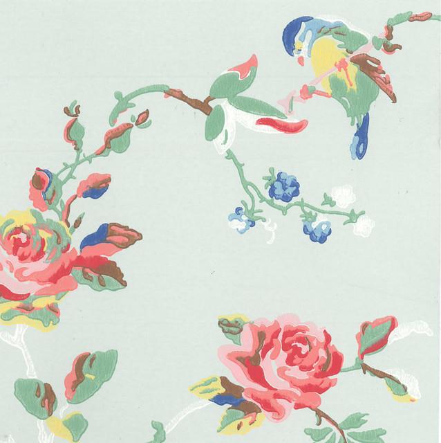 Birds Amp Roses Wallpaper Farmhouse Wallpaper East