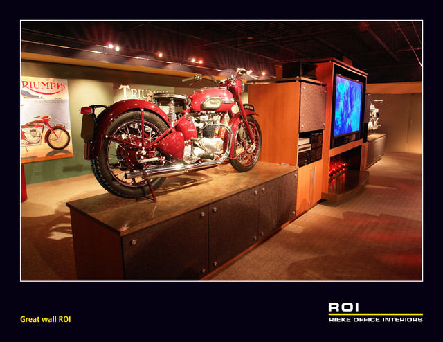 audio video great wall with vintage motorcycles