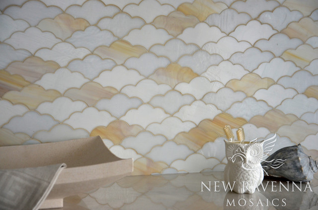 Clouds Glass Mosaic eclectic-tile