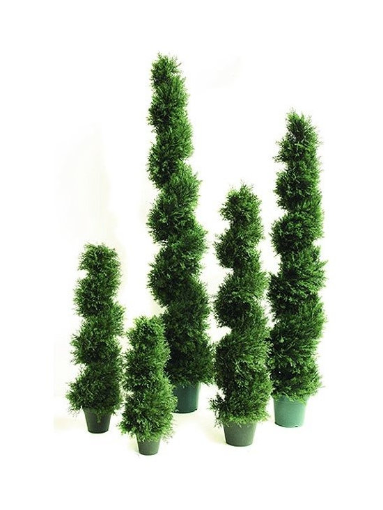 Artificial Outdoor Foliage - This spiral topiary artificial outdoor cedar pine tree is excellent for providing privacy in your outdoor room, around pools and patios and for creating realistic garden environments that do not require watering or maintenance.
