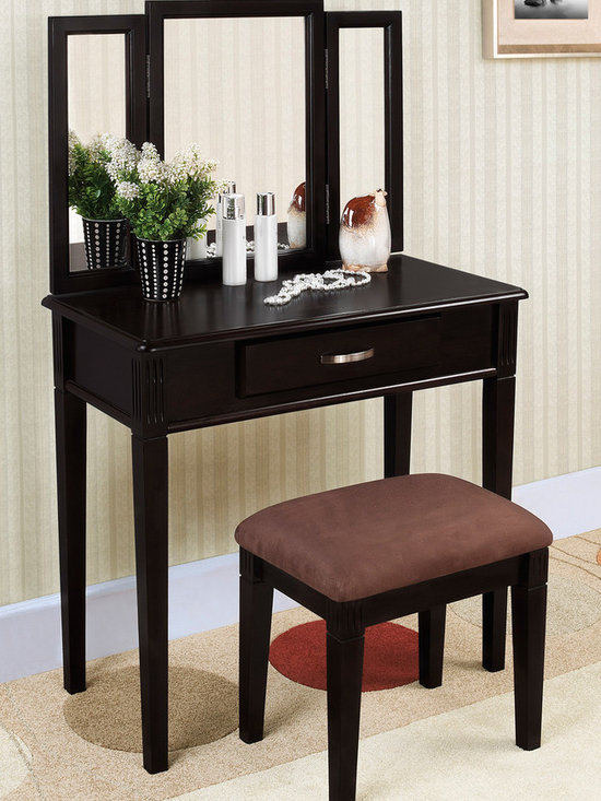 None - Black Finish Tri-mirror Vanity Table and Stool - This three-piece vanity set with a black finish is a great addition to your bedroom or bathroom. A tri-folding mirror,table with drawer and upholstered stool finishes this vanity set.