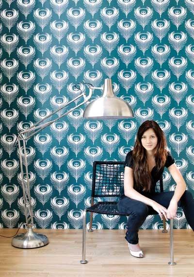 Feather wallpaper, Ferm Living eclectic-wallpaper