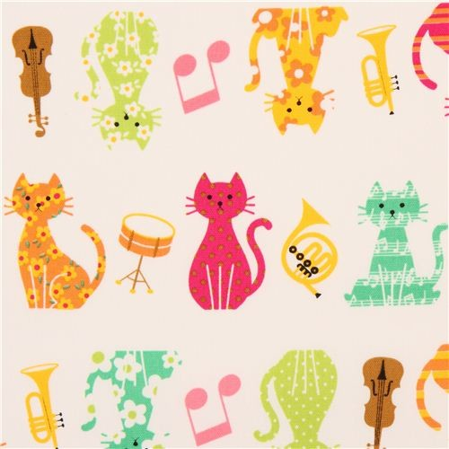 white oxford cats music instruments fabric Cosmo Japan fabric