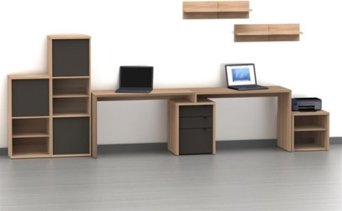 Nexera Infini-T 2 Person Desk with Filing Cabinet - Biscotti and ...