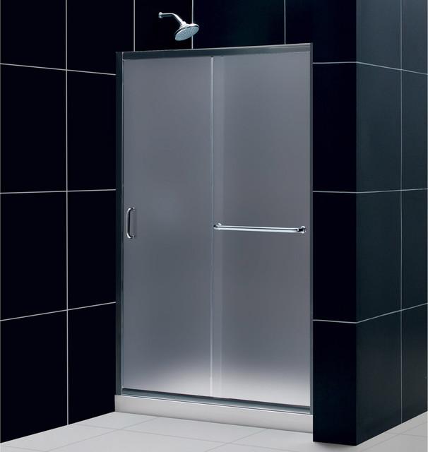"Infinity-Z 44 to 48"" Frameless Sliding Shower Door, Frosted 1/4"" Glass Door, Bru contemporary-showers"