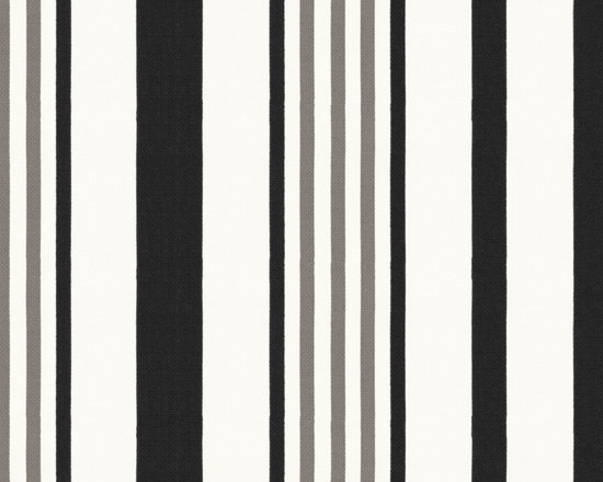 Stripe Out in Black - Black, grey & white stripe outdoor fabric.