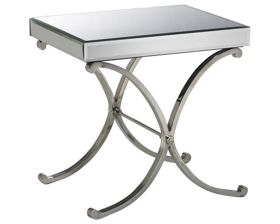 Kathy Kuo Home - Contemporary Vogue Mirror Side Table - Like silent movie star from days gone by, this Hollywood Regency end table doesn't need to shout to make a glamorous statement.  Hopelessly romantic, yet undeniably functional, this beauty works wonders in any modern room.