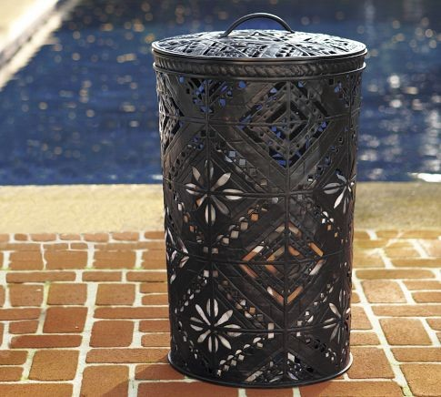 Pierced Metal Lidded Bin eclectic-wastebaskets