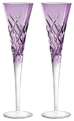 Vera Wang Wedgwood Duchesse Encore Color Champagne Flutes, Set of 2 contemporary-everyday-glasses
