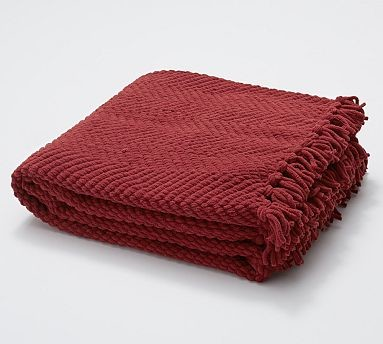 Grand Chenille Throw, Cardinal Red - Traditional - Throws - by Pottery Barn