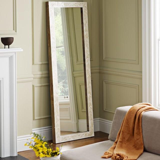Parsons Floor Mirror Bone Inlay Contemporary Floor