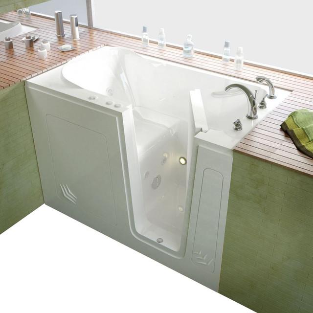 Meditub 30x54 Right Drain White Whirlpool Jetted Walk In Bathtub Traditional