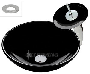 Polaris p106bl Black Colored Glass Vessel Sink & Matching Glass Waterfall Faucet modern-bathroom-vanities-and-sink-consoles