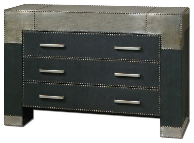 Uttermost Razi 3 Drawer Chest in Black Faux Leather & Silver Metal contemporary-side-tables-and-end-tables