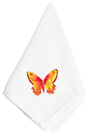 Orange and Yellow Butterfly Napkin 8857NAP traditional-napkins