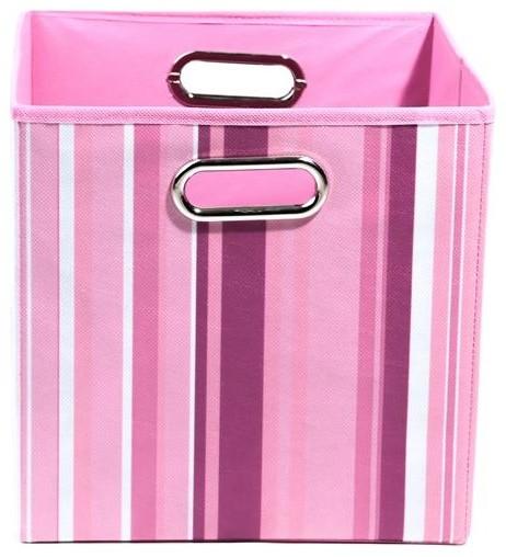 Rose Stripes Folding Storage Bin modern-storage-bins-and-boxes