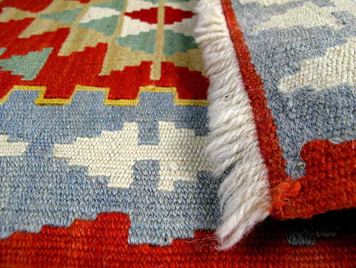 Mini Turkish Kilim Rug With Anatolian Patterns / Blue And Brick-Color mediterranean rugs