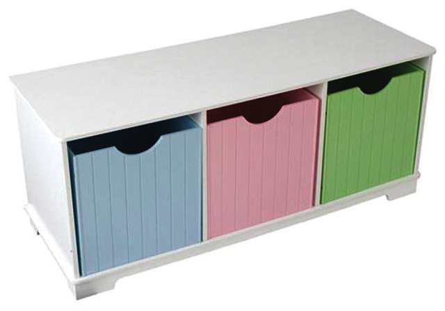Kidkraft Kids Room Gift Doll Organizer Nantucket Play Toy Storage Bench Pastel Contemporary