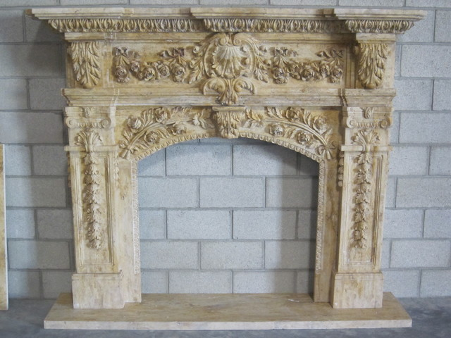Stone Fireplace Mantels Traditional Indoor Fireplaces
