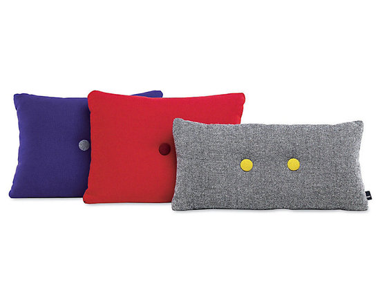 Dot 2x2 Pillow - Referencing midcentury Danish design, the Dot pillow by husband-and-wife team Mette and Rolf Hay features cheerful contrasting buttons on pillows made of Kvadrat's classic Hallingdal fabric. They make a great pick-me-up for a neutral modern space.