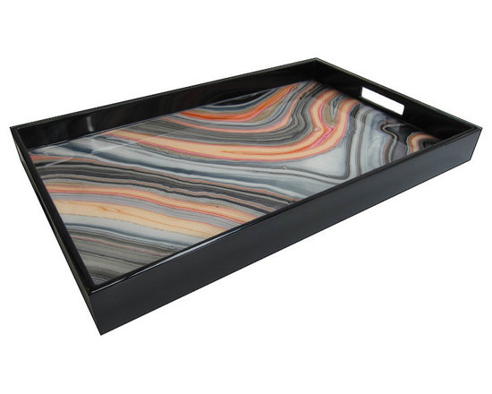Pacific Connections breakfast tray - This hand-crafted, lacquered wood, product is produced using centuries old tradition of hand pouring several layers of lacquer over beautiful designs.