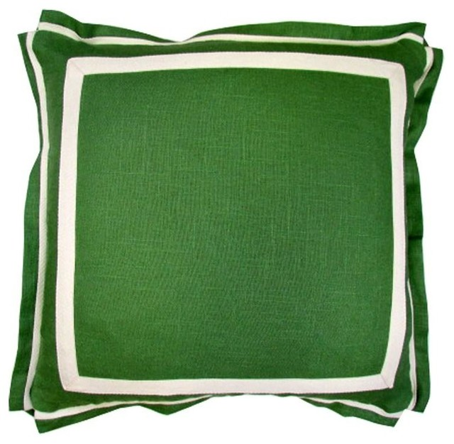 Lacefield Designs Kelly Green Linen Pillow - Traditional - Decorative Pillows - by Candelabra