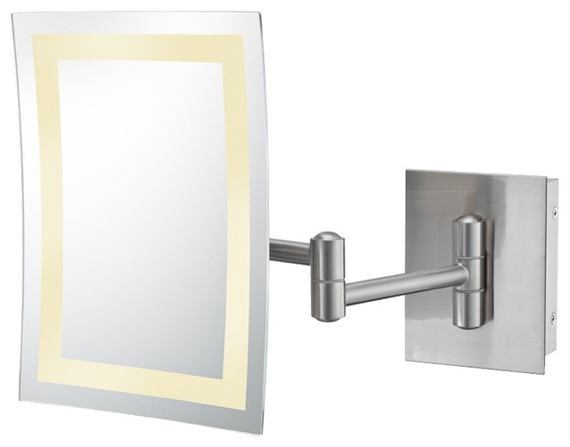Contemporary Aptations Rectangle Brushed Nickel LED Hard Wire Wall Mirror contemporary-bathroom-mirrors