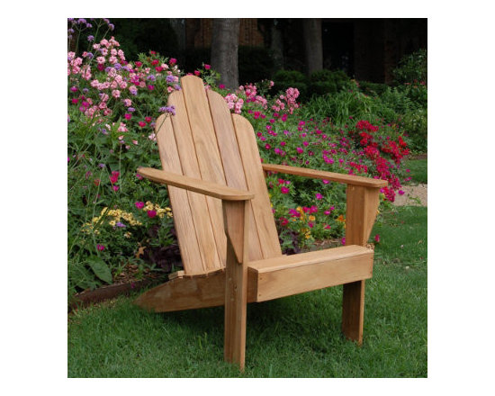 Grandin Road - All-natural Teak Adirondack Chair - Crafted of first-quality teak. Sturdy slatted seat and back. Watertight mortise and tenon joinery. Noncorroding stainless steel fittings. If left untreated, teak will turn a silvery patina over time. There's a reason why Tectona grandis is the wood of choice for our All-natural Teak Adirondack Chair and the world's most coveted yachts. Handcrafted from durable teak with watertight mortise and tenon joinery, this durable hardwood performs beautifully in every climate without rotting, splintering, nor the need for being stored or covered.  .  .  .  .  . Minor assembly.