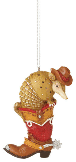 Armadillo In Western Cowboy Boot Christmas Tree Ornament Texas Holiday Gift Traditional