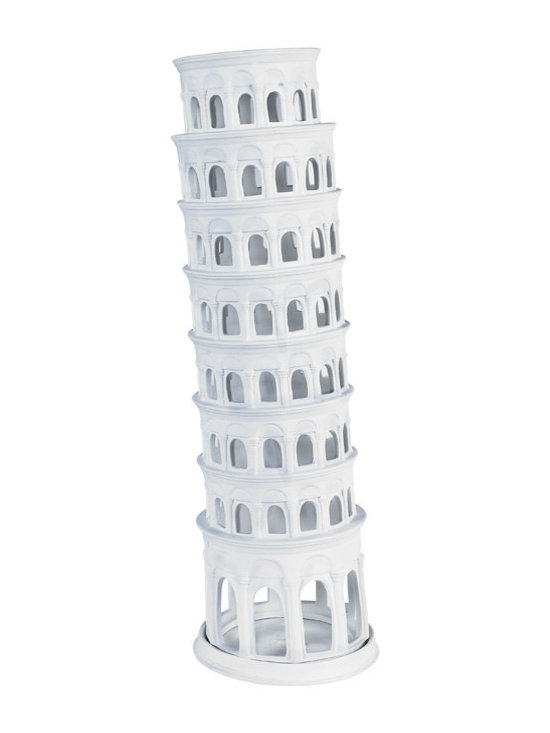 """Inviting Home - Tower of Pisa - hand-made bisque porcelain Tower of Pisa 6"""" x 19""""H Bisque porcelain is unglazed white ceramic ware. It�s fired under extremely high temperatures. Its pure white slightly rough texture is beloved by experts and collectors. Architectural models can double as whimsical candle stands. Place a tea light or candle in the center of the porcelain tray and you will see windows light up like a cathedral on Christmas Eve."""