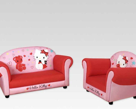 Kids Furniture - A Hello Kitty living room set for kids! The delightful Hello Kitty armchair and sofa-for-two are fully padded for comfort and rests on solid legs for sturdy support—perfect for playroom fun. Sit among stars and hearts with Hello Kitty and her teddy bear friend.